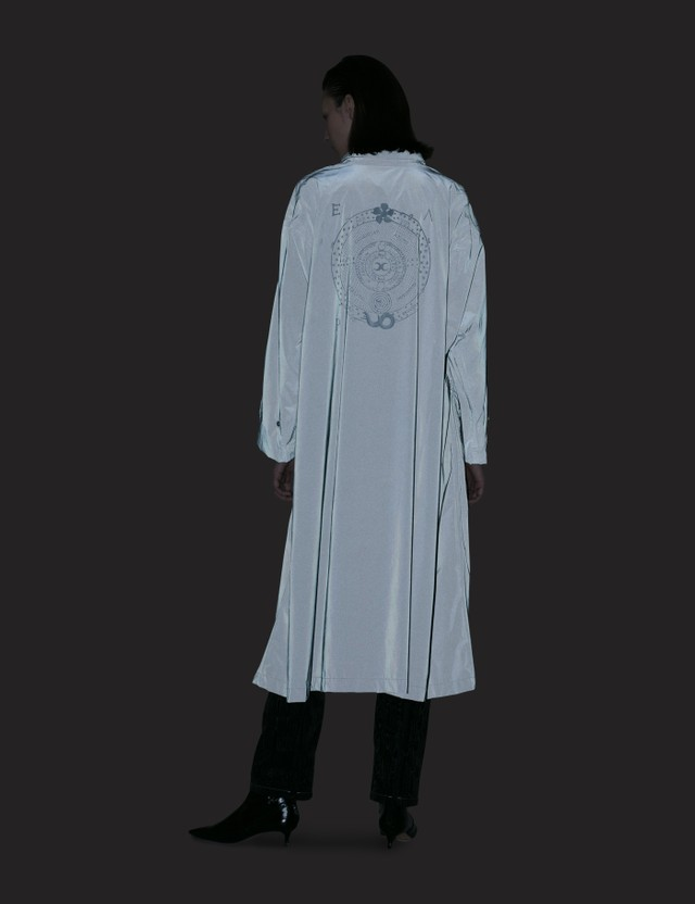 Marine Serre Long Reflective Logo Raincoat Black Women