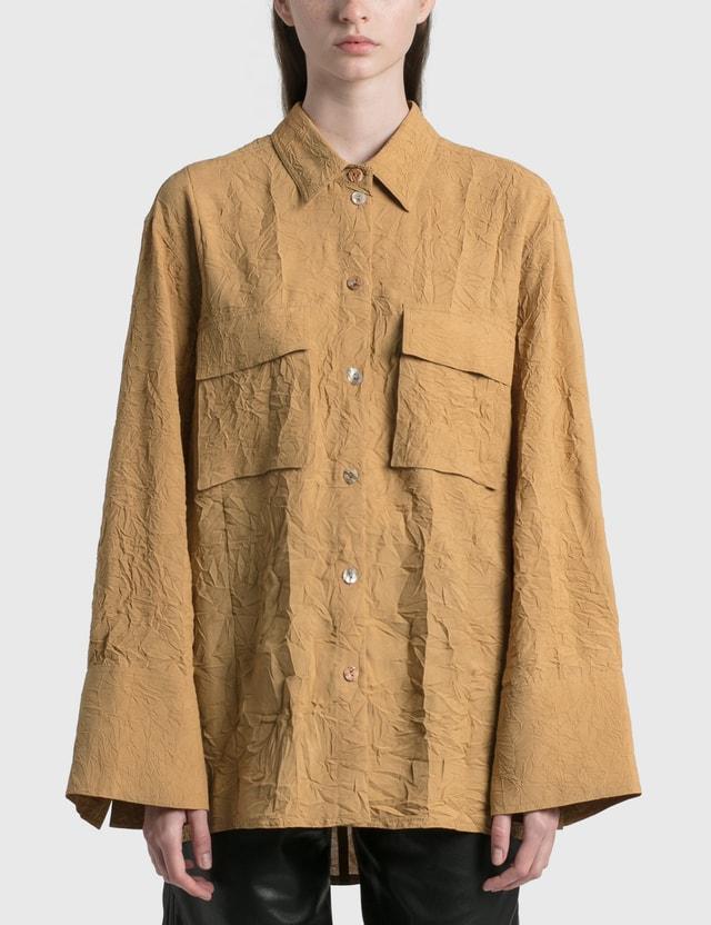 Nanushka Ifrah Crinkled Shirt Camel Women