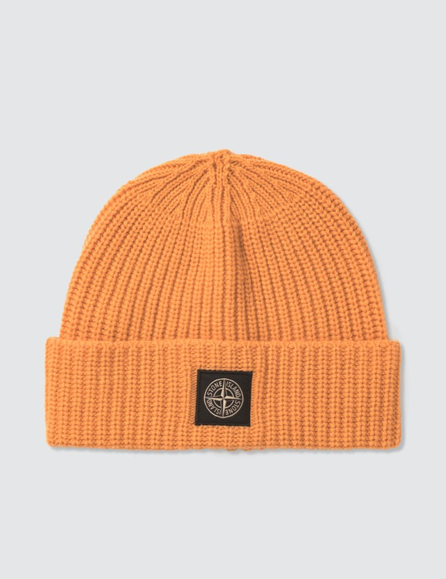 Stone Island Knit Beanie Orange Men