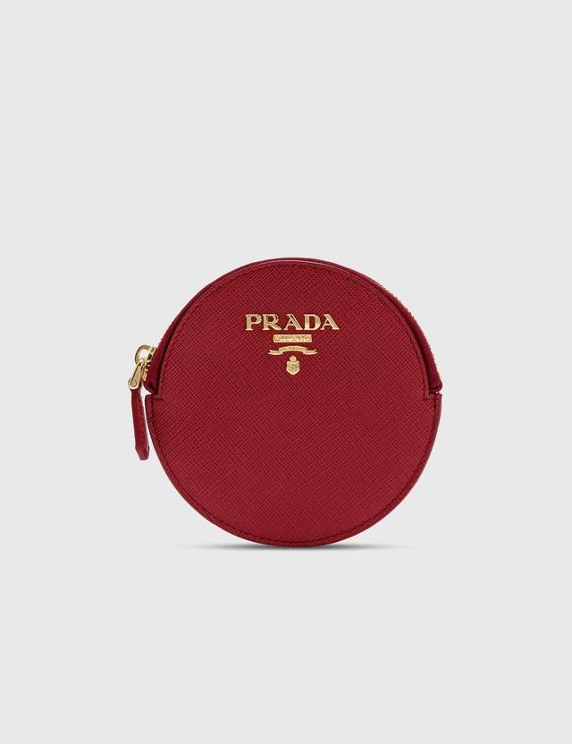 Prada Saffiano Mini Round Bag Fuoco Women