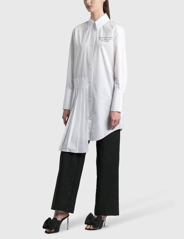 Off-White Popeline Plisse Shirt Dress White Black Women