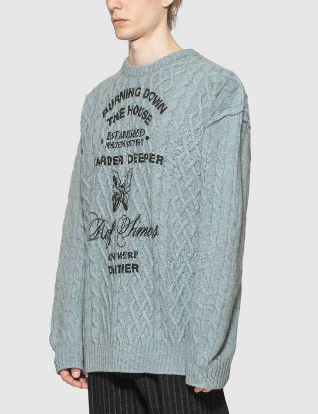 Raf Simons Printed Aran Knit Sweater
