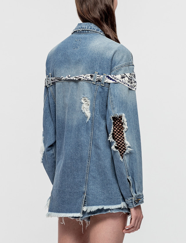 SJYP Destroyed Scarf Trim Denim Jacket