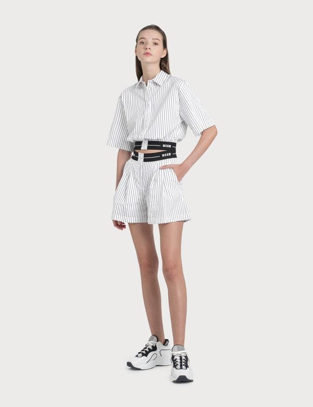 MSGM Striped Shorts White/black Women