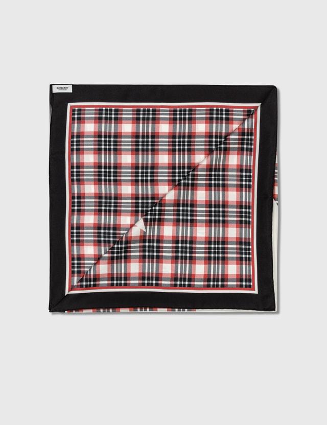 Burberry Star Motif Check Print Silk Square Scarf Bright Red Women