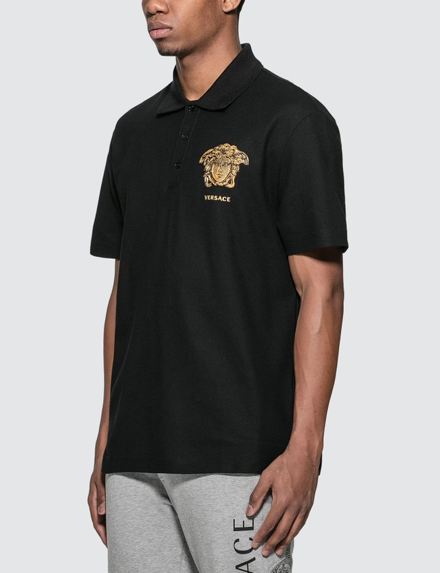 Versace Embroidered Medusa Logo Polo Shirt