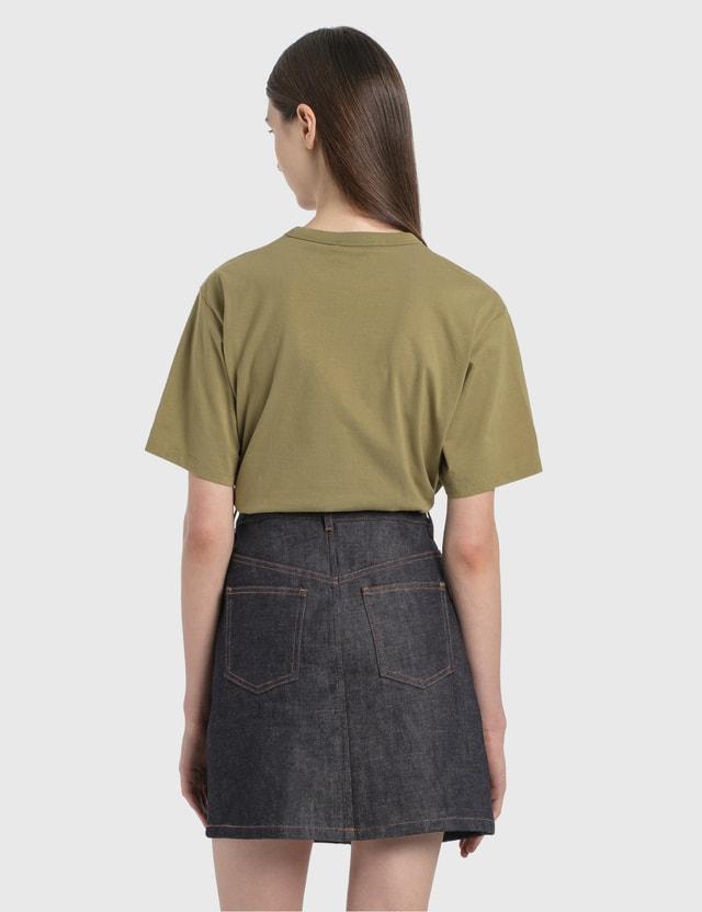 Maison Kitsune Flower Fox Patch T-Shirt Light Khaki Women