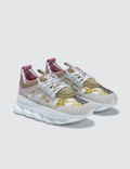 Versace Gold Hibiscus Printed Chain Reaction Sneakers