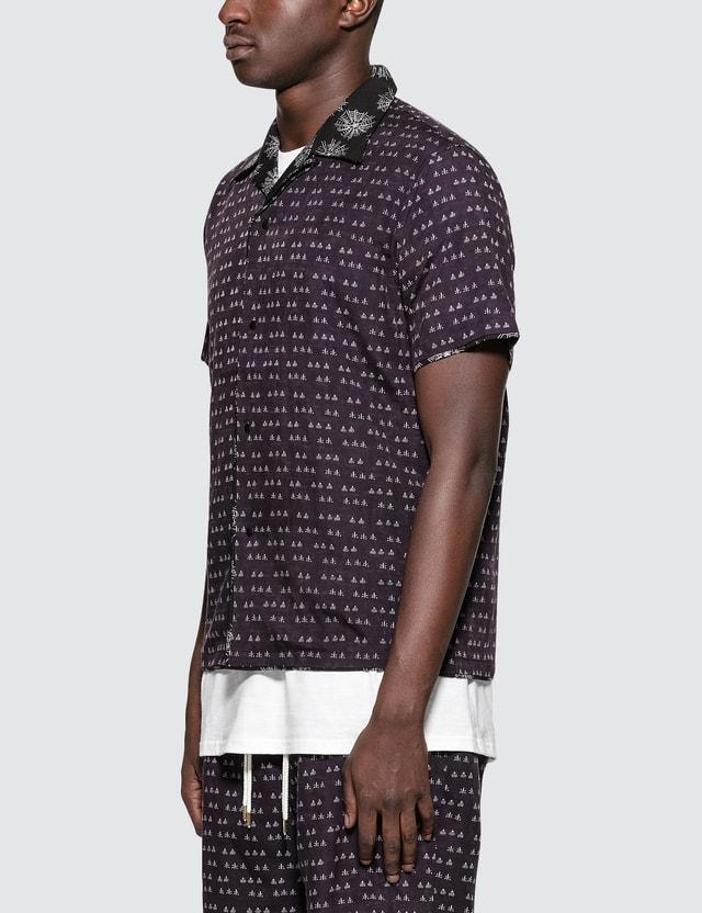 "Sasquatchfabrix. ""Sensou"" Open Collar H/S Shirt Dark Purple × Black Men"