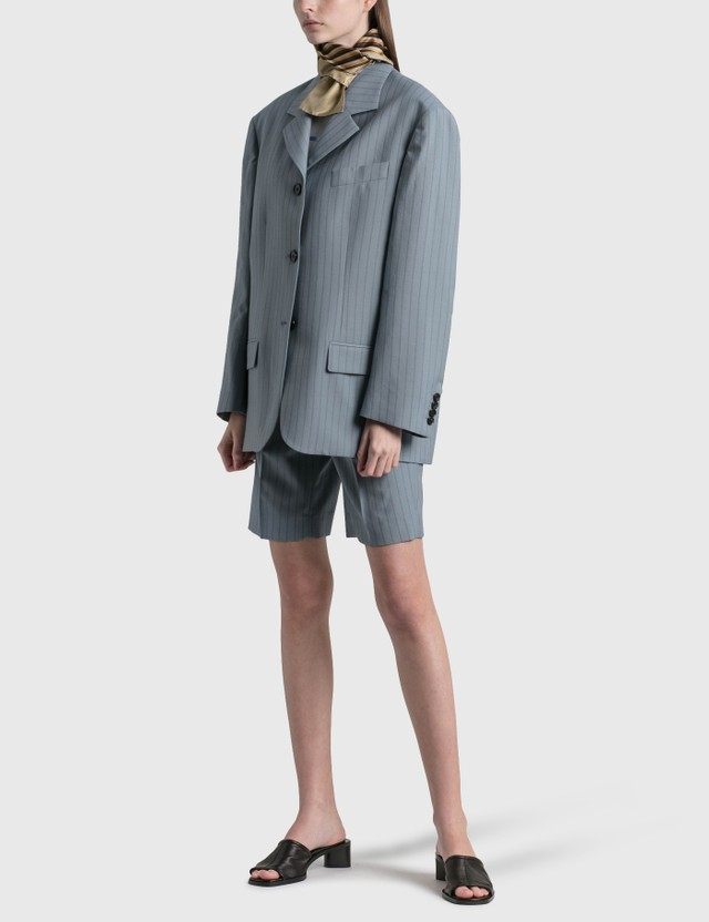 Acne Studios Ruthie Pinstripe Suit Shorts Light Blue Women
