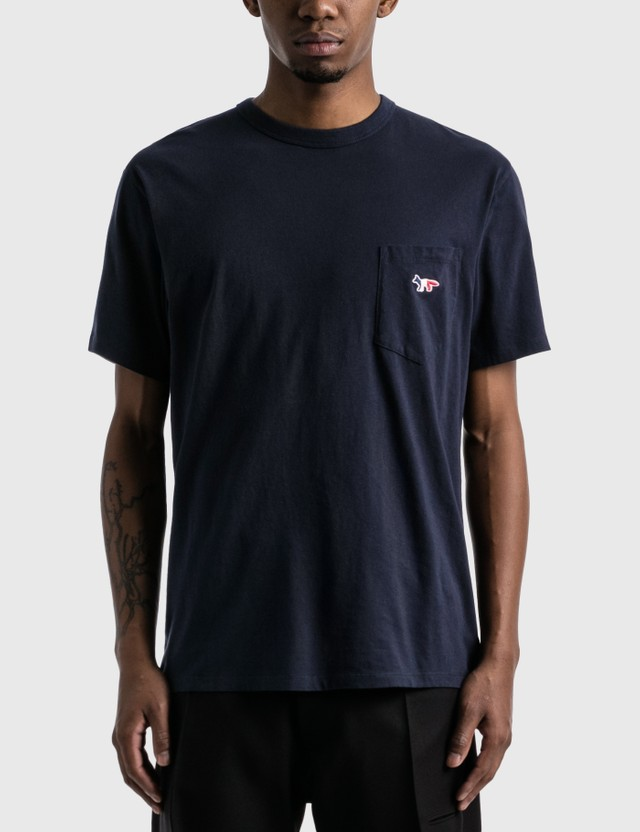 Maison Kitsune Tricolor Fox Patch Pocket T-shirt Navy Men
