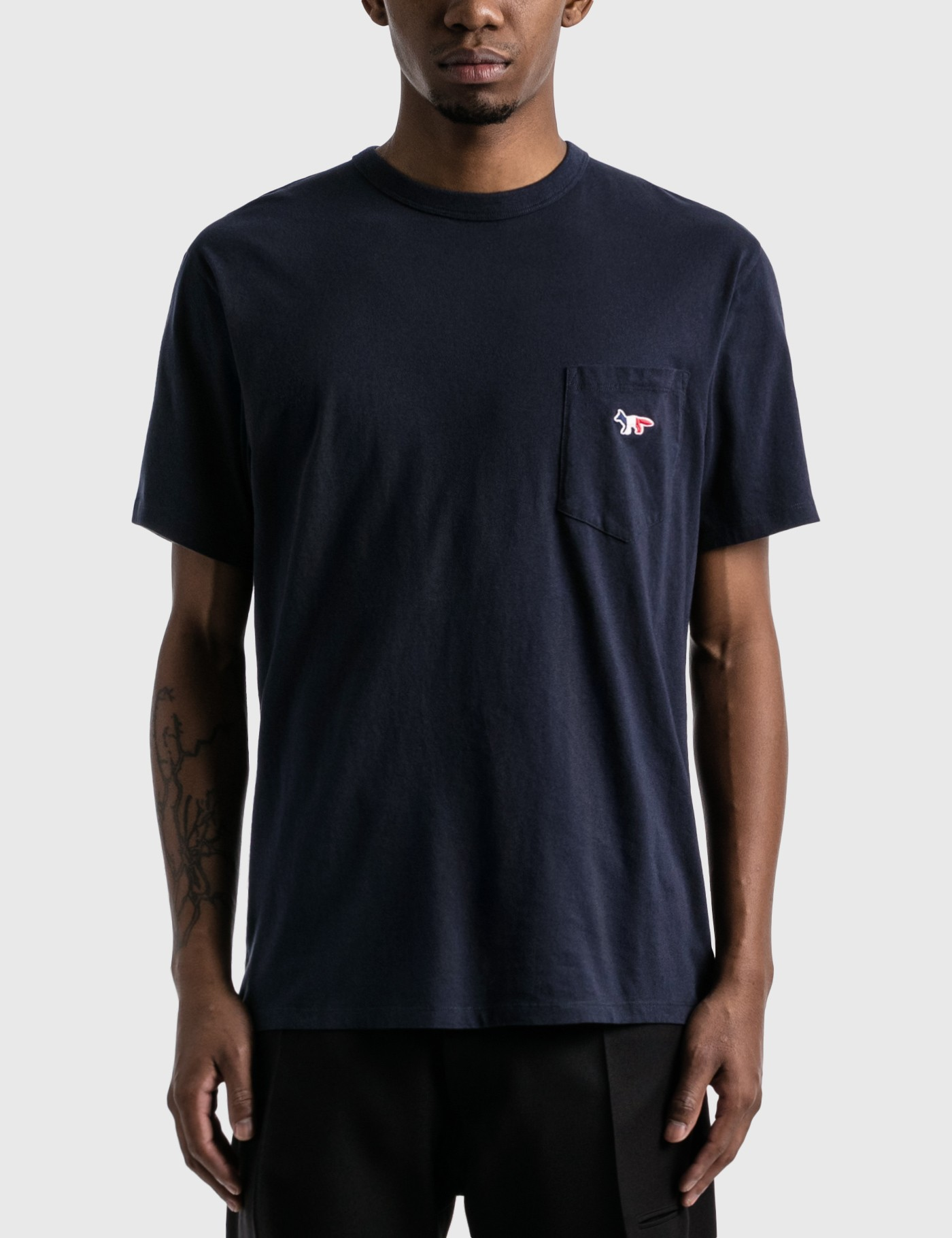 Maison Kitsuné Tricolor Fox Patch-chest Pocket Cotton T-shirt In Blue