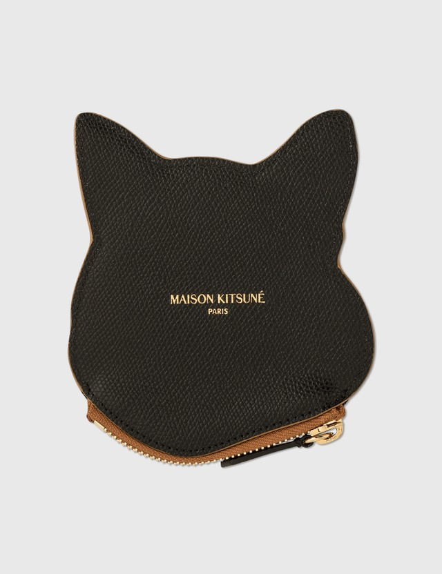 Maison Kitsune Fox Head Leather Coin Purse Brown Men