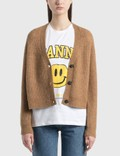 Ganni Soft Wool Knit Cardigan Tiger's Eye Women