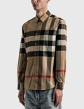 Burberry Check Stretch Cotton Poplin Shirt Archive Beige Ip Chk Men