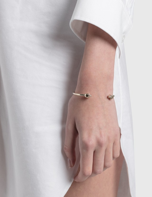 Alexander McQueen Thin Twin Skull Bracelet Gold Women