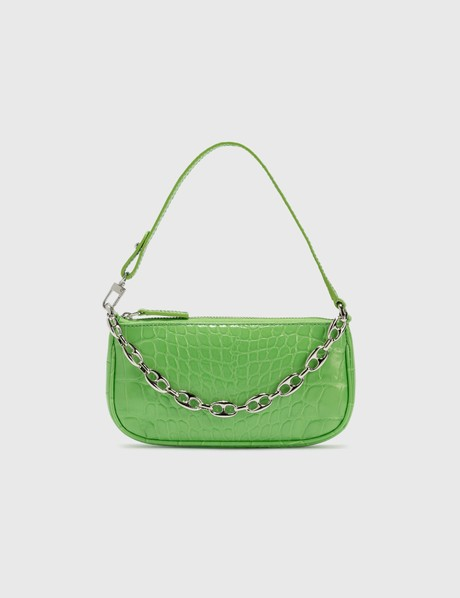 By Far Mini Rachel Grass Croco Embossed Leather Bag