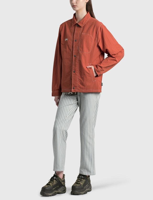 Stussy Stripe Big OL' Jeans White Women