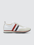 Thom Browne Running Shoe W/ RWB Stripe In Suede + Cotton Blend Tech Picture