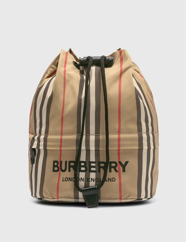 Burberry Icon Stripe ECONYL® Drawcord Pouch Archive Beige Women
