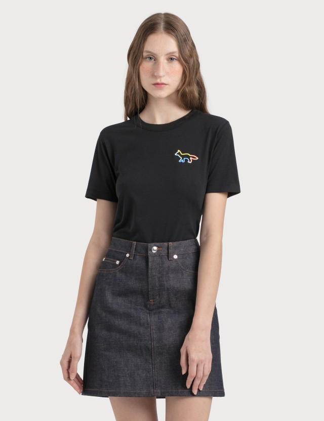 Maison Kitsune Rainbow Profile Fox T-Shirt Black Women
