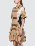 KOCHÉ Fitted Polo Dress Beige Stripes Women