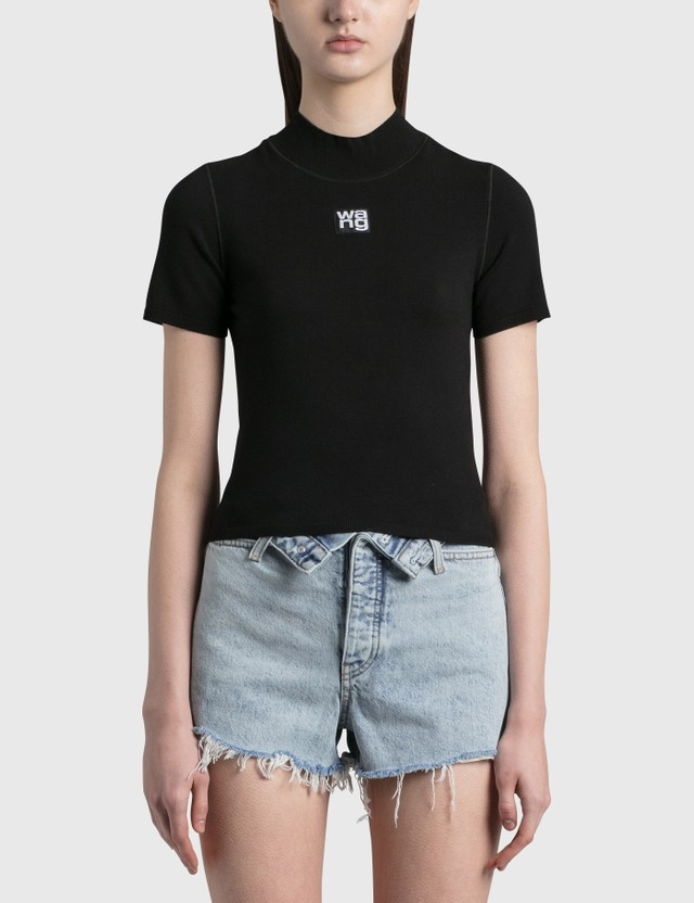Alexander Wang.T Bodycon Mock Neck Top Black Women