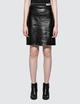 Prada Leather Pencil Skirt with Prada Logo