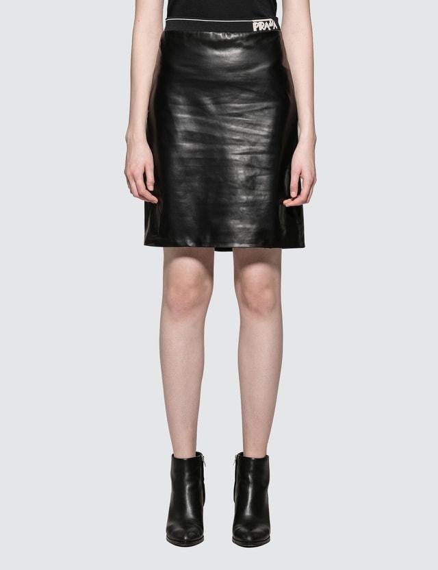 70b1c7de03 Prada - Leather Pencil Skirt with Prada Logo | HBX