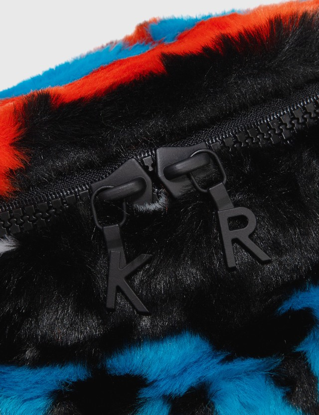 Kirin Big Typo Fur Fanny Bag Black Gree Women