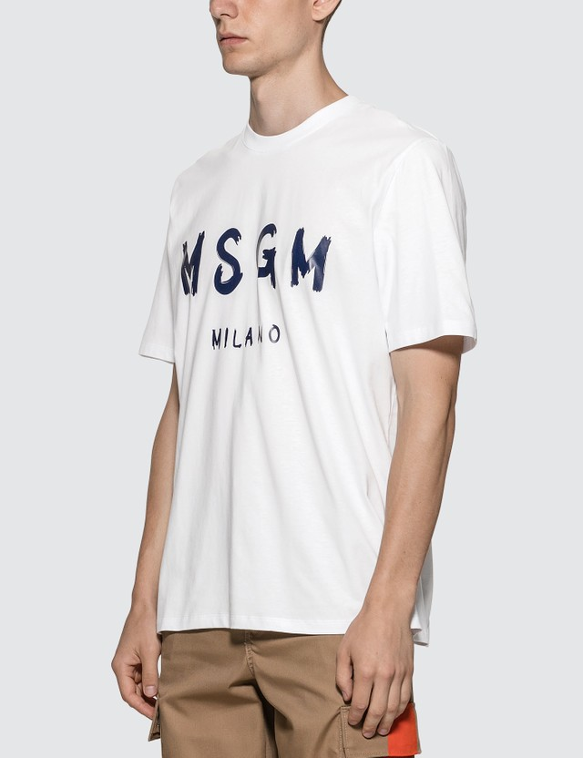 MSGM Paint Brushed Logo T-Shirt