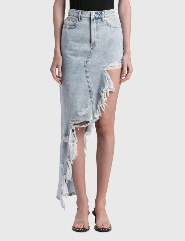 Alexander Wang.T Asymmetric Frayed Skirt Pebble Bleach Women