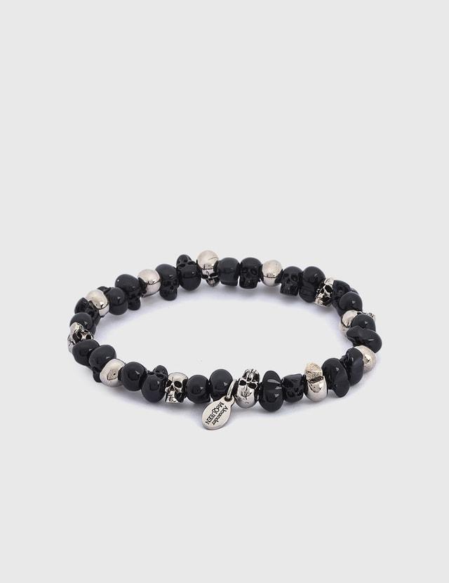 Alexander McQueen Skulls Bracelet 0446+anthracite/blk Men
