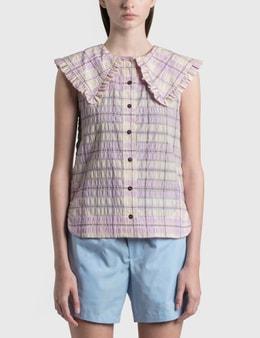 Ganni Seersucker Check Sleeveless Shirt