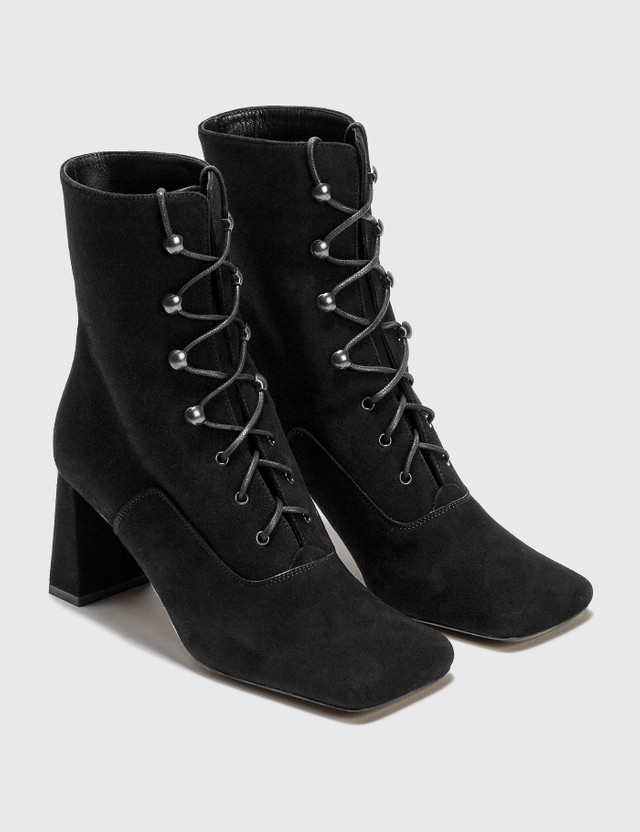 BY FAR Claude Black Cashmere Suede Boots Black Women