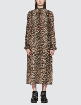 Ganni Leopard Pleated Georgette Dress