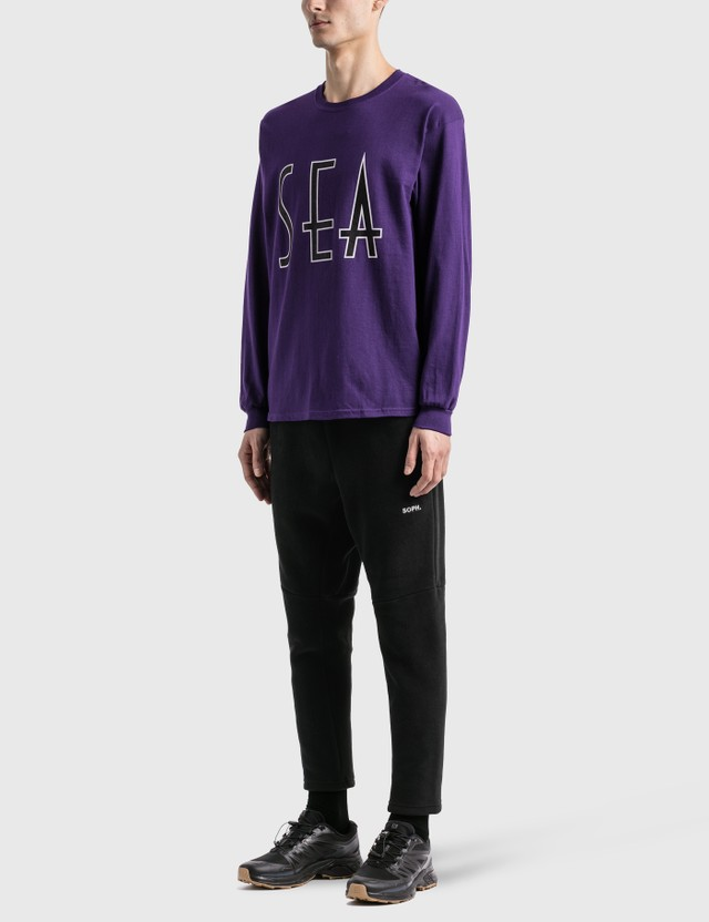 Wind And Sea Sea (Wavy) 긴소매 티셔츠 Purple Men
