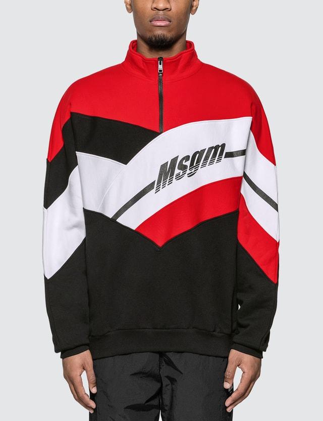 MSGM Half Zip Colorblock Sweatshirt Black Men