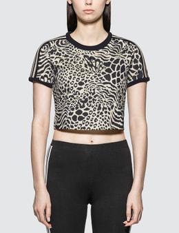 Adidas Originals Leopard Print 3 Stripes T-shirt