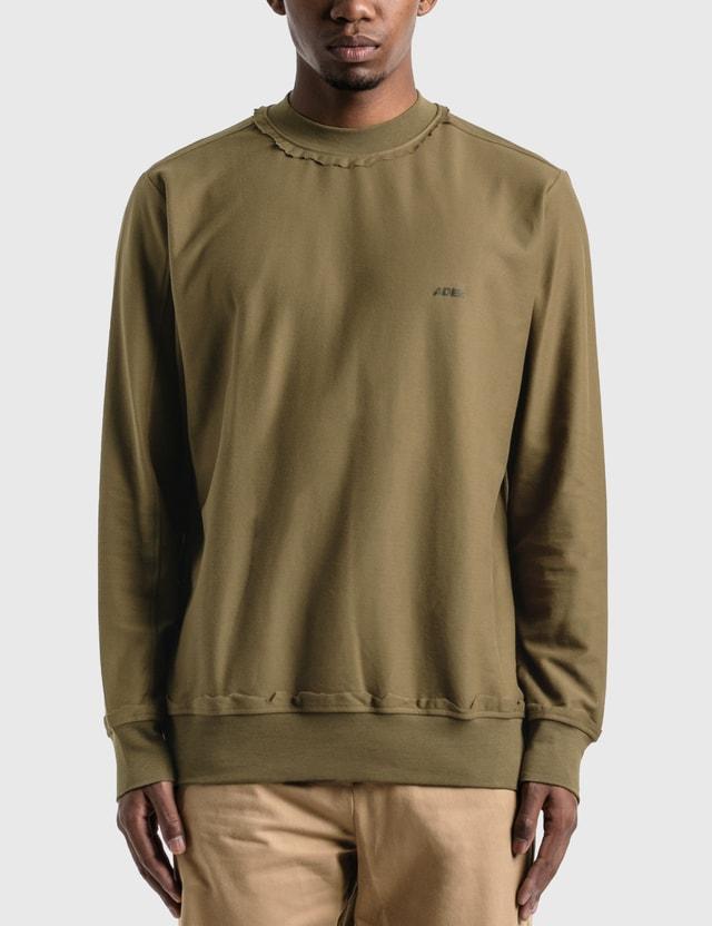 Ader Error Lightweight Cotton Jersey Sweatshirt Khaki Men