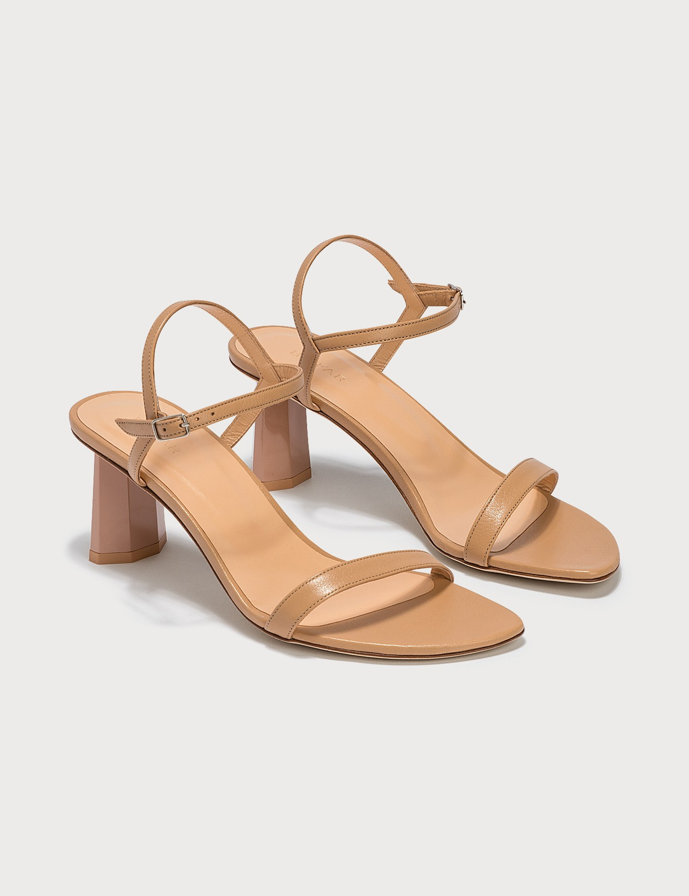 Magnolia Nude Ostrich Embossed Leather Sandals