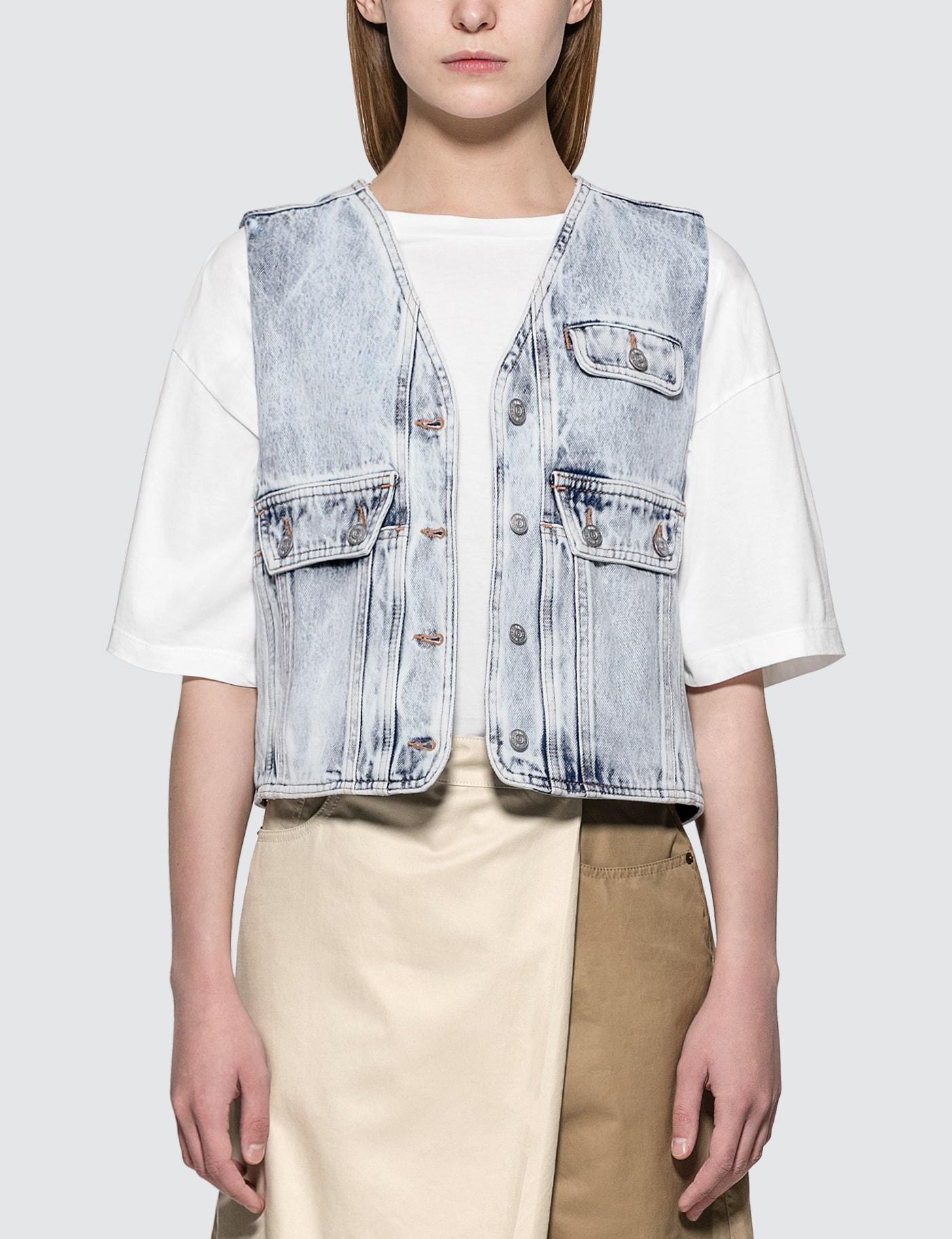 Denim Vest With Crossbody Pocket