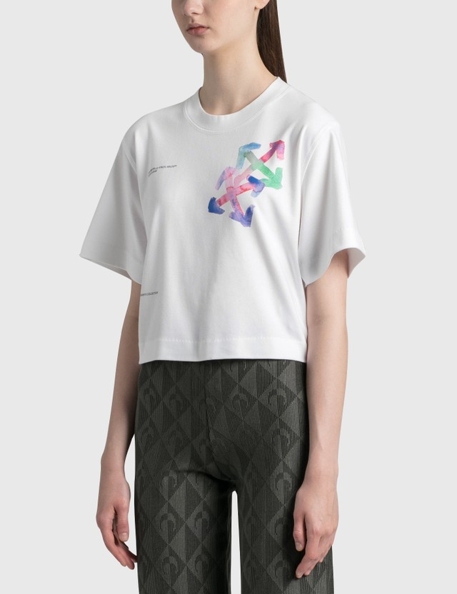 Off-White Watercolor Arrows Cropped T-Shirt White Mult Women