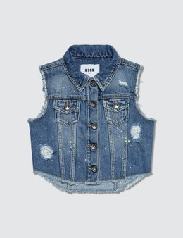 MSGM Distressed Denim Vest