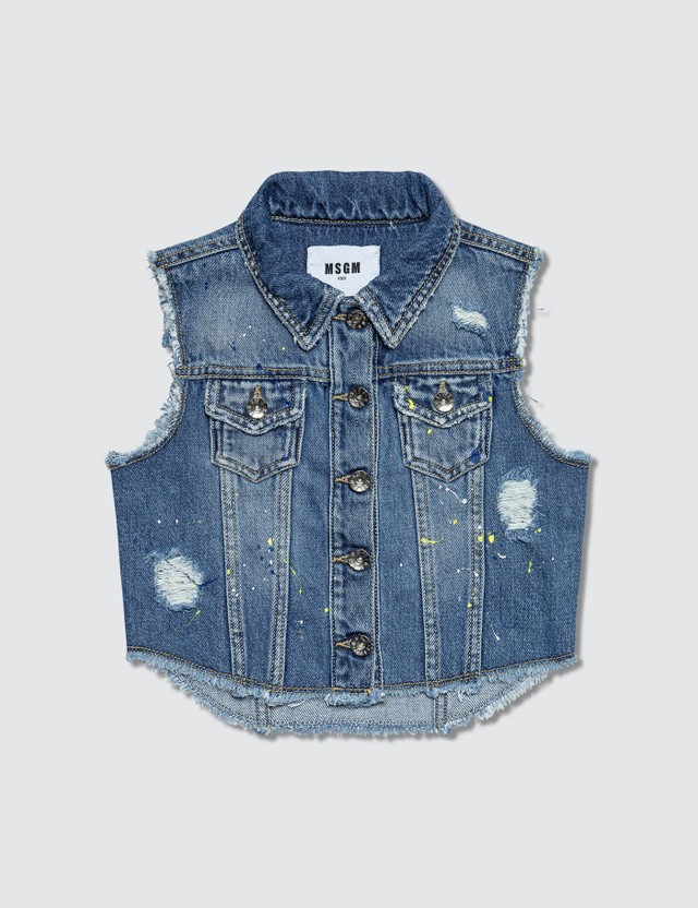 MSGM Distressed Denim Vest Denim Blue Girls