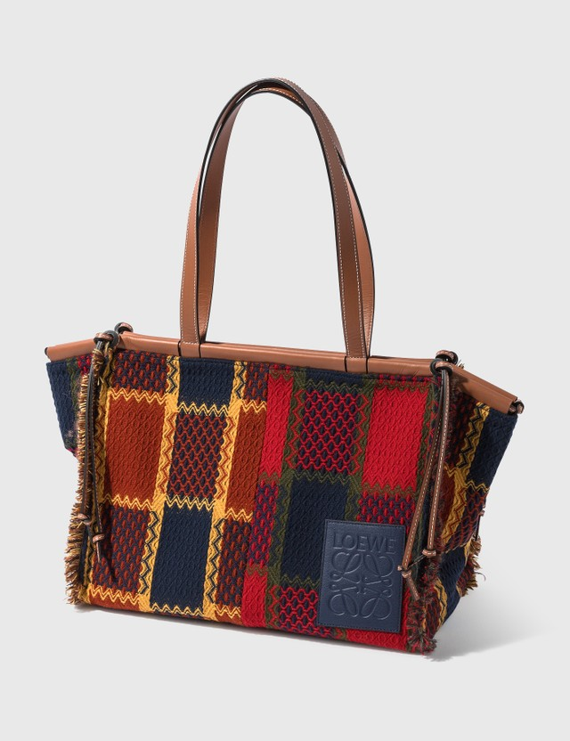Loewe Cushion Tote bag In Tartan And Calfskin Red Women