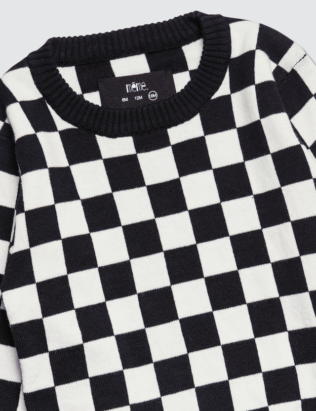 Meme Checkered Knit Sweater Checkered Kids