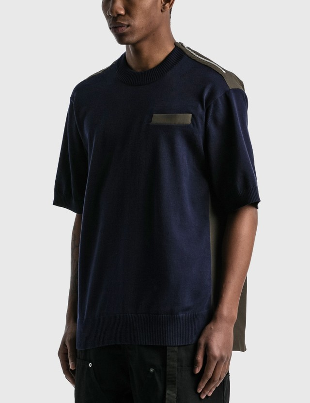 Sacai Knit x Suiting T-shirt Navy X Khaki Men