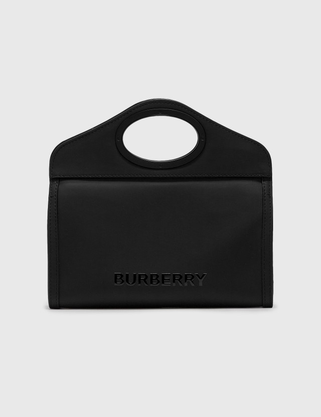 Burberry Logo Print Rubberised Cotton Foldover Pocket Bag Black Men