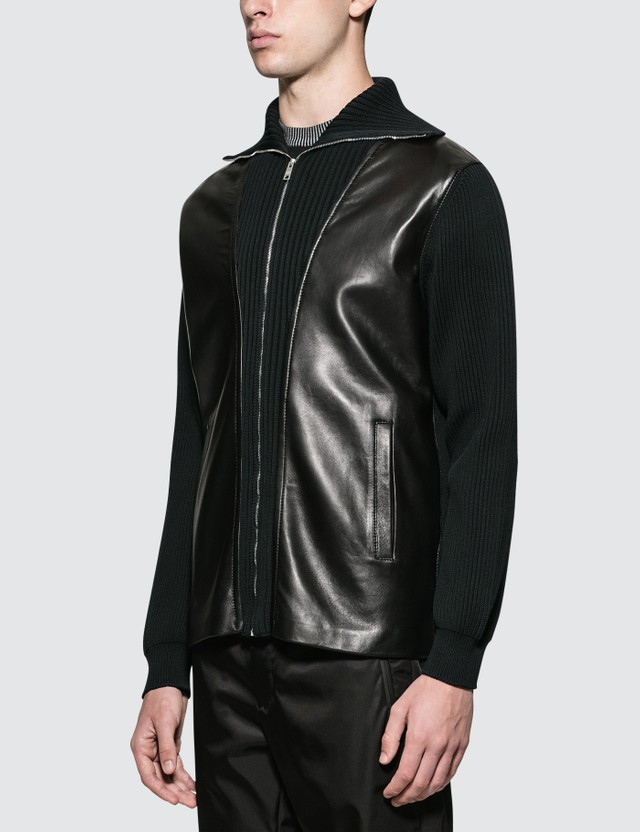 Prada Ribbed Knit Leather Jacket Nero Men